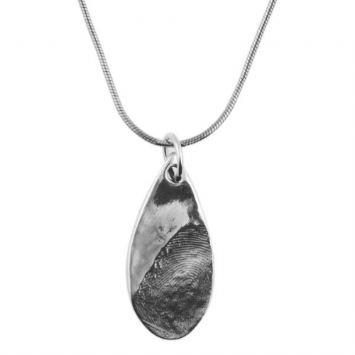 Tear Drop Partial Fingerprint Necklace